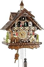 Reloj de cuco de madera real de Eble, mecanismo de cuarzo con pilas, con música, casa de la Selva Negra de 42 cm- 22305