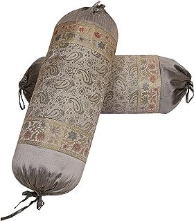 DK Homewares Traditionnel Chambre Yoga en Soie Polydupion Taies d'oreiller cylindriques 15 x 30 Brocart Jacquard Paisley F...