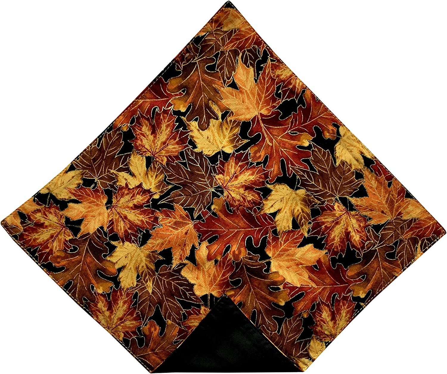 Holiday Bow Ties Mens Pocket Square Vintage Autumn Leaves with Gold Metallic