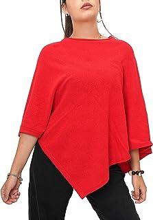 Fantasie Terrene Poncho Cashmere Donna, Fatto a Maglia in Filato Misto Cashmere di Alta qualità. Made in Italy. Colore Rosso