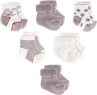 Jacobs, Calcetines de recién nacido/Patucos bebé de algodón - Lote 6 pares (0-3 meses), Certificado Oeko-Tex Standard 100 - Color: Gris, Crudo