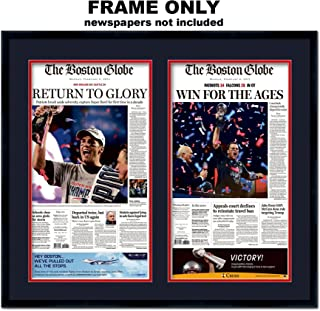The Boston Globe Newspaper Frame - with New England Patriots Colors Double Mat
