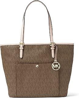 MICHAEL Michael Kors Womens Jet Set Leather Signature Tote Handbag