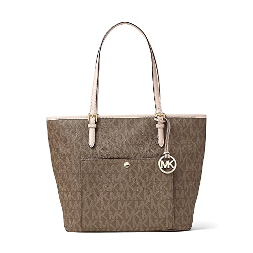 2b3871e78264 MICHAEL Michael Kors Womens Jet Set Leather Signature Tote Handbag