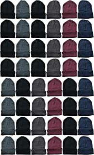Yacht & Smith 48 Pack Winter Beanies, Wholesale Bulk Cold Weather Warm Knit Skull Caps, Mens Womens Unisex Hats