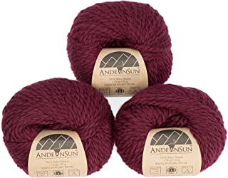 100% Baby Alpaca Yarn (Weight #5) Bulky, Chunky, Craft - Set of 3 Skeins 150 Grams Total- Luxurious and Caring Soft for Knitting and Crocheting - Burgundy #5 Bulky