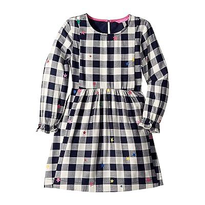 Joules Kids Woven Brushed Flannel Dress (Toddler/Little Kids/Big Kids) (Navy Gingham Star) Girl