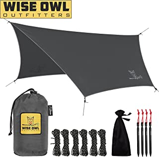 Wise Owl Outfitters Rain Fly Tarp – The WiseFly Premium 11 x 9 ft Waterproof Camping Shelter Canopy – Lightweight Easy Setup for Hammock or Tent Camp Gear - 5 Colors