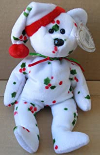 TY Beanie Babies 1998 Holiday Teddy Bear Stuffed Animal Plush Toy - 8 1/2 inches tall - White with Holly Leaf Design and Santa Hat