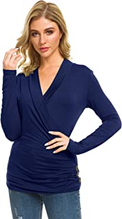 Womens Deep V Neck Wrap Pleated Slim Top Tee Long Sleeve Ruched T Shirt