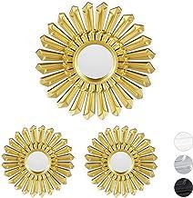 Relaxdays Decoratieve spiegel zon, set van 3, ronde hangspiegel, wanddecoratie met ophanging, kunststof frame, Ø 25 cm, goud