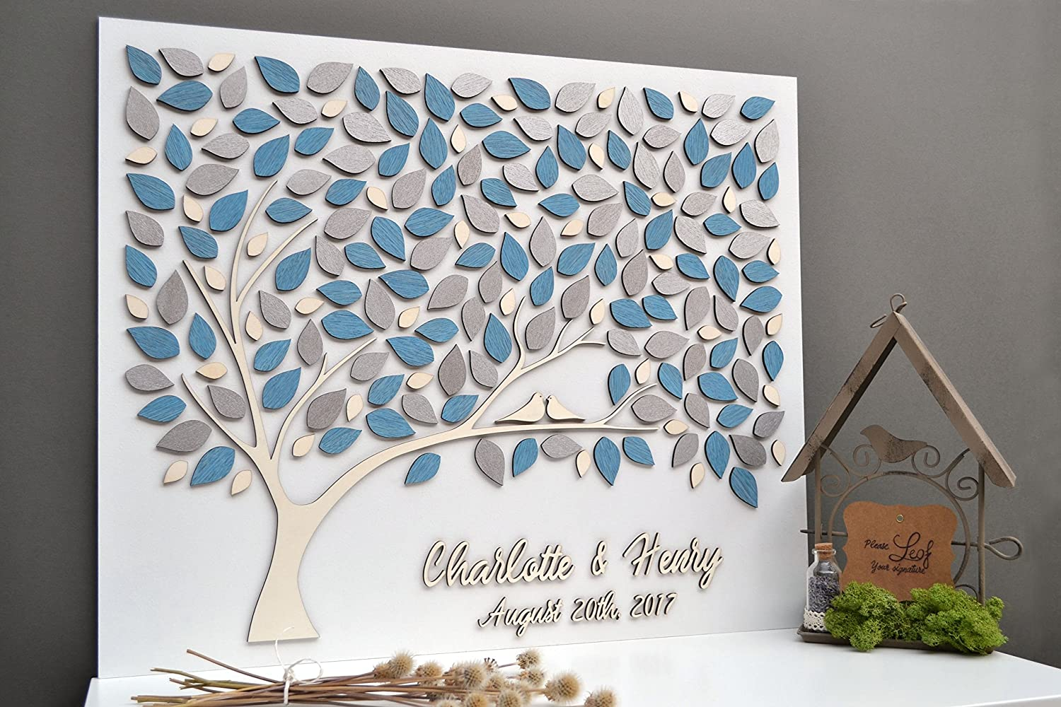 baby shower pink wedding Guest book alternative made of wood in a unique 3D guestbook design personalized with names and date for weddings