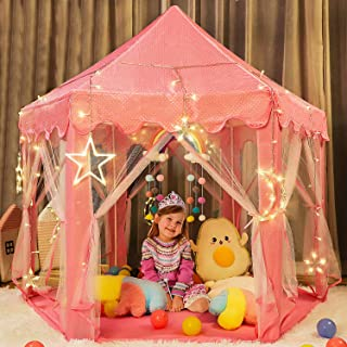 """TOY Life Princess Castle Tents for Girls Princess Playhouse Tent with Lights Princess Tiara and Wand 55"""" x 53"""" Tents for K..."""