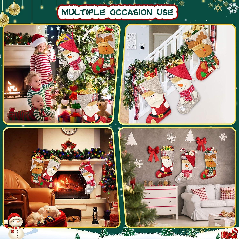 Popolic Christmas Stocking with 3 Christmas Stockings 46x32cm Large Xmas Sock Sack Gift Bag Felt Theme Santa Reindeer Christmas Tree Decoration,Gift Bags for kids//Adult//Teenagers Snowman