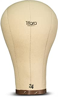 Tifara Beauty Professional Canvas Cork Mannequin Block Head Wig Display with Mount Hole, 11.5' Long Neck (24')