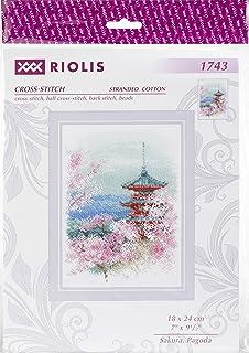 Riolis Sakura。 纸塔十字绣套装,棉,多色,18 x 24厘米