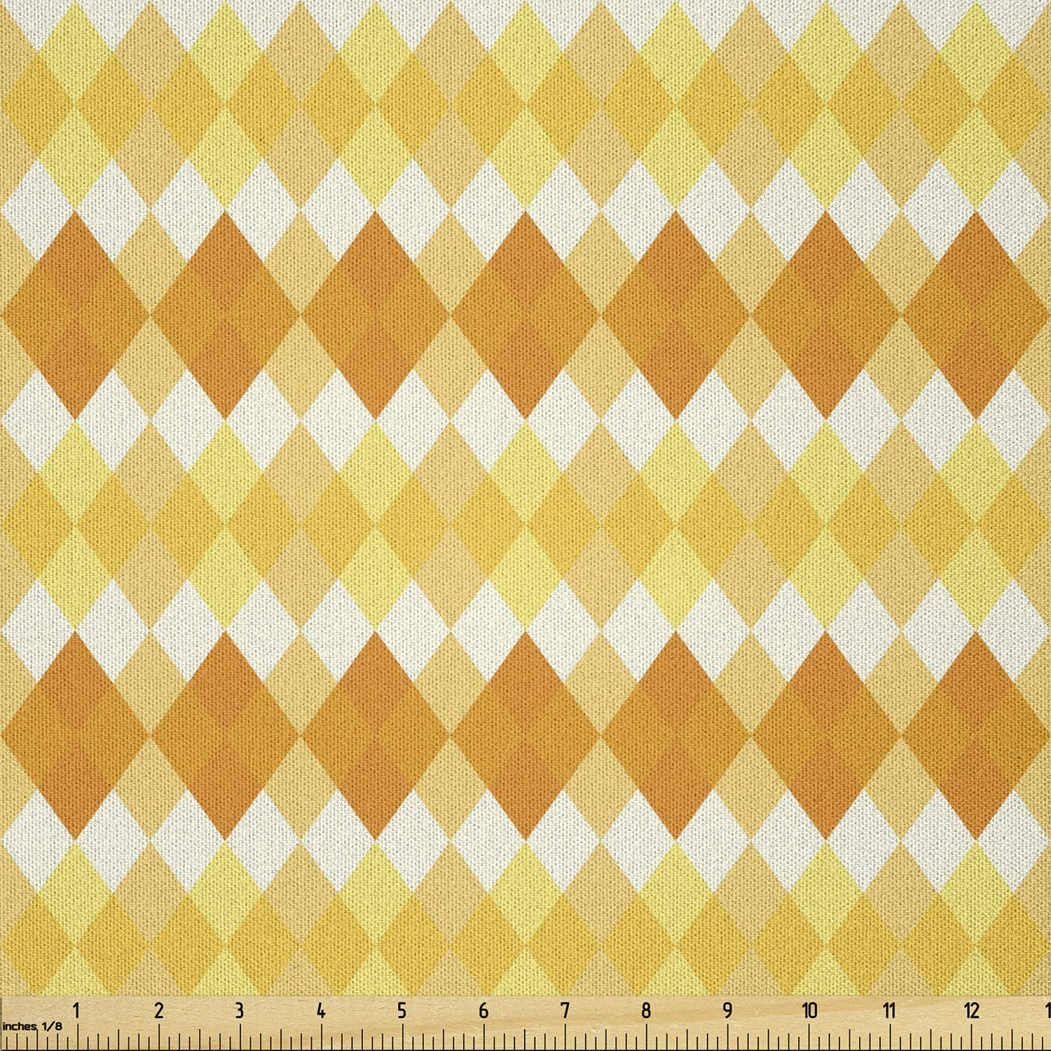 Ambesonne Argyle Fabric by The Free shipping Reservation New Yard Style Patt Retro Monochrome