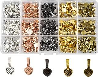 Mandala Crafts Glue on Bails for Pendant Jewelry Making, Cabochon Setting Mix Kit (Heart, Gunmetal, Antique Bronze, Rose Gold, Gold, Silver Tone)