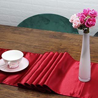 Moments Creation Premium Satin Table Runners| Pack of 10 Thick Quality Table Runner | 12 x 108 inches| Elegant Perfect for Wedding Banquet or Party Table Decorations (Burgundy red, 10)