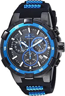 Men's Aviator Stainless Steel Quartz Watch with Silicone Strap, Black, 25 (Model: 25859)