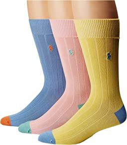 Soft Touch Rib Heel/Toe 3-Pack Socks