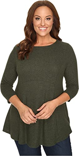 B Collection by Bobeau - Plus Size Brushed Babydoll Hemline Knit