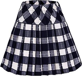 b2dd6df82317 Urban CoCo Women's Elastic Waist Tartan Pleated School Skirt