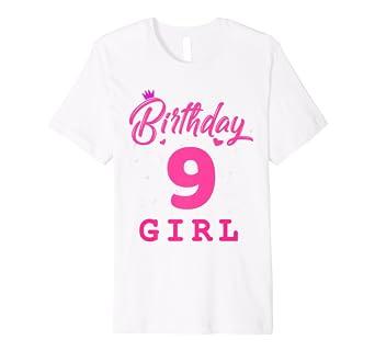 Amazon.com: Feliz cumpleaños camisa, niñas 9th fiesta 9 años ...