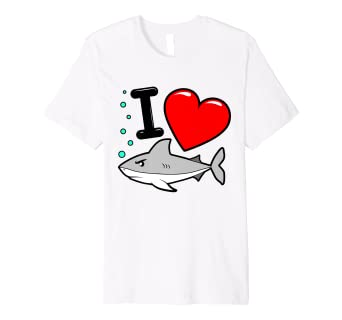 fa5cb1fb Image Unavailable. Image not available for. Color: I Heart Sharks TShirt  for a Fun Week Love Ocean Apparel