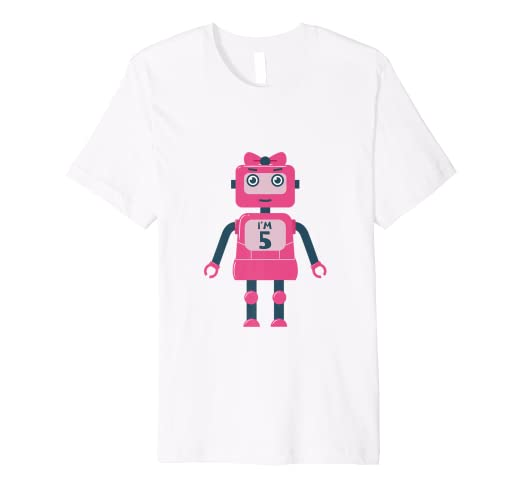Image Unavailable Not Available For Color 5th Birthday Robot Shirt 2014 Girls Gift 5 Years Daughter