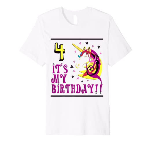 Image Unavailable Not Available For Color 4th Birthday Shirts Four Unicorn