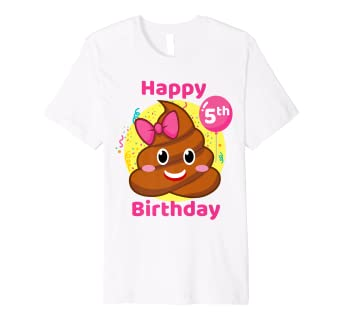 Amazon Pink Poop Emojis Birthday Shirt Girls 5th Party 5 Years