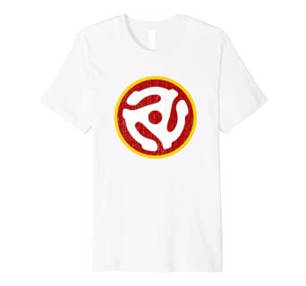 f0921ef0d9b Image Unavailable. Image not available for. Color  Record Adapter Shirt -  Distressed Retro Vinyl 45 RPM Tee