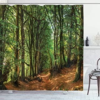 Ambesonne Woodland Shower Curtain, Woodland Scene with Trees and Pathway Foliage Trunk Greenery Outdoor Picture, Cloth Fabric Bathroom Decor Set with Hooks, 70