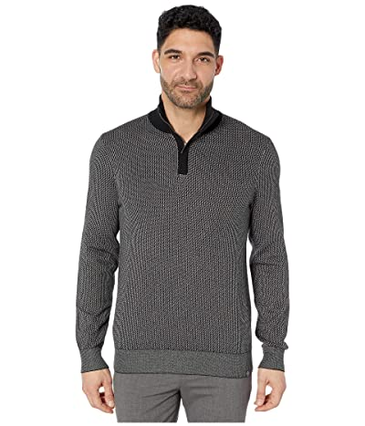 Perry Ellis 1/4 Zip Long Sleeve Sweater (Black) Men