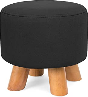 Best Choice Products Upholstered Padded Pouf Ottoman Footrest Stool w/Removable Linen Cover, Non-Skid Legs - Black