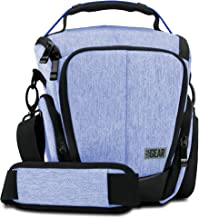 USA GEAR Camera Case for DSLR (Blue) with Soft Cushioned Interior, Zippered Accessory Pockets, Adjustable Carry Strap - Compatible with Nikon D3300, D3400, D5500, Canon Rebel T6, T6i, T5 and More
