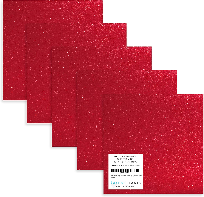 Red Glitter Adhesive Vinyl Dedication 12