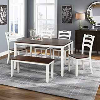 Merax Dining Table Sets, 6 Piece Wood Kitchen Table Set, Home Furniture Table Set with Chairs & Bench (White + Cherry)