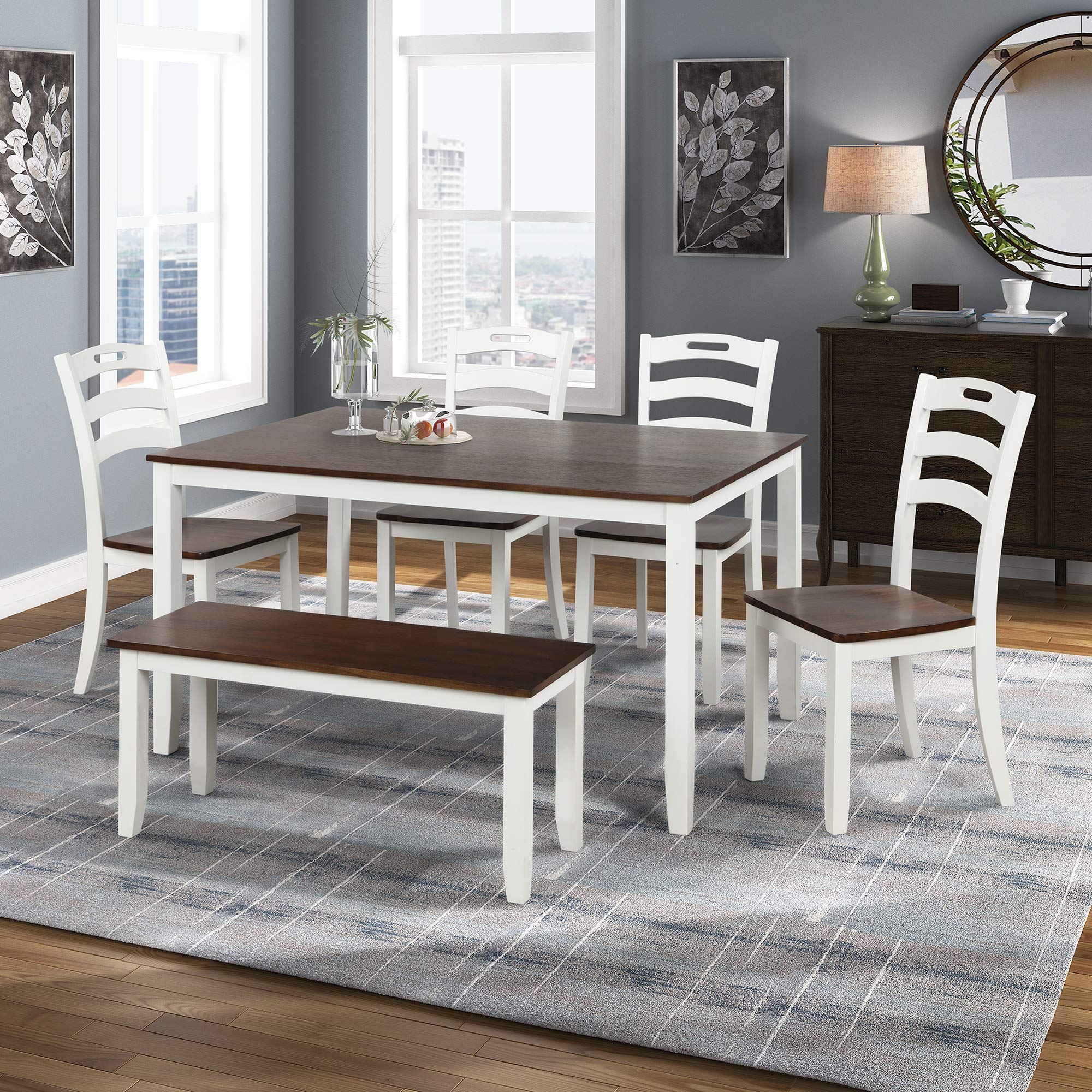 Amazon Com Merax Dining Table Set 6 Piece Wood Kitchen Table Set Home Furniture Table Set With Chairs Bench White Cherry Table Chair Sets
