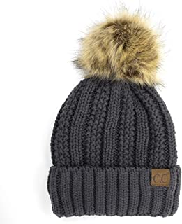 BYSUMMER Cable Knit Beanie with Faux Fur Pom - Warm, Soft, Thick Beanie Hats for Women & Men