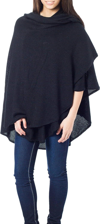 NOVICA Black Peruvian Alpaca Wool Blend Wrap, Bold Black'