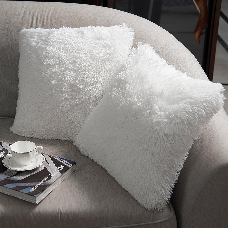 NordECO HOME Paquete de 2 Funda de Almohada de Piel sintética Fundas de Cojines Suaves Funda de Almohada Decorativa de Felpa para Sala de Estar Sofá Dormitorio Coche 50 x 50 cm Blanco