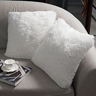 """Best NordECO HOME Luxury Soft Faux Fur Fleece Cushion Cover Pillowcase Decorative Throw Pillows Covers, No Pillow Insert, 20"""" x 20"""" Inch, White, 2 Pack Review"""