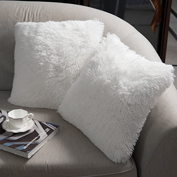NordECO Luxury Soft Faux Fur Fleece Cushion Cover Pillowcase Decorative Throw Pillows Covers No Pillow Insert 22 X 22 Inch White 2 Pack