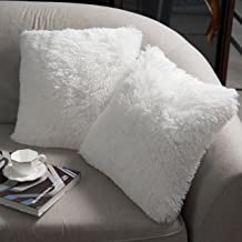 NordECO Luxury Soft Faux Fur Fleece Cushion Cover Pillowcase No Pillow Insert 18 x 18 White 2 Pack