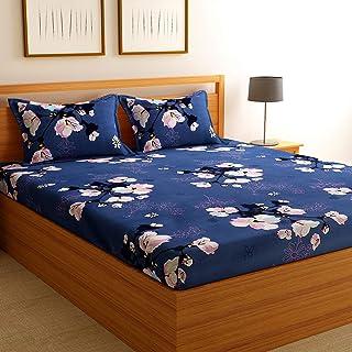 Florida Cotton 130 GSM Double Bedsheet with 2 Pillow Covers बेडशीट डबल बेड (Blue, 228x245 cm)