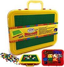 Travel Building Brick Toy Compatible Storage Organizer Container Block Brick Carrying Case Building Plate Baseplate Lid Organizer Compatible with All Major Brands 8.5 x 8 x 3 inches Yellow Purple