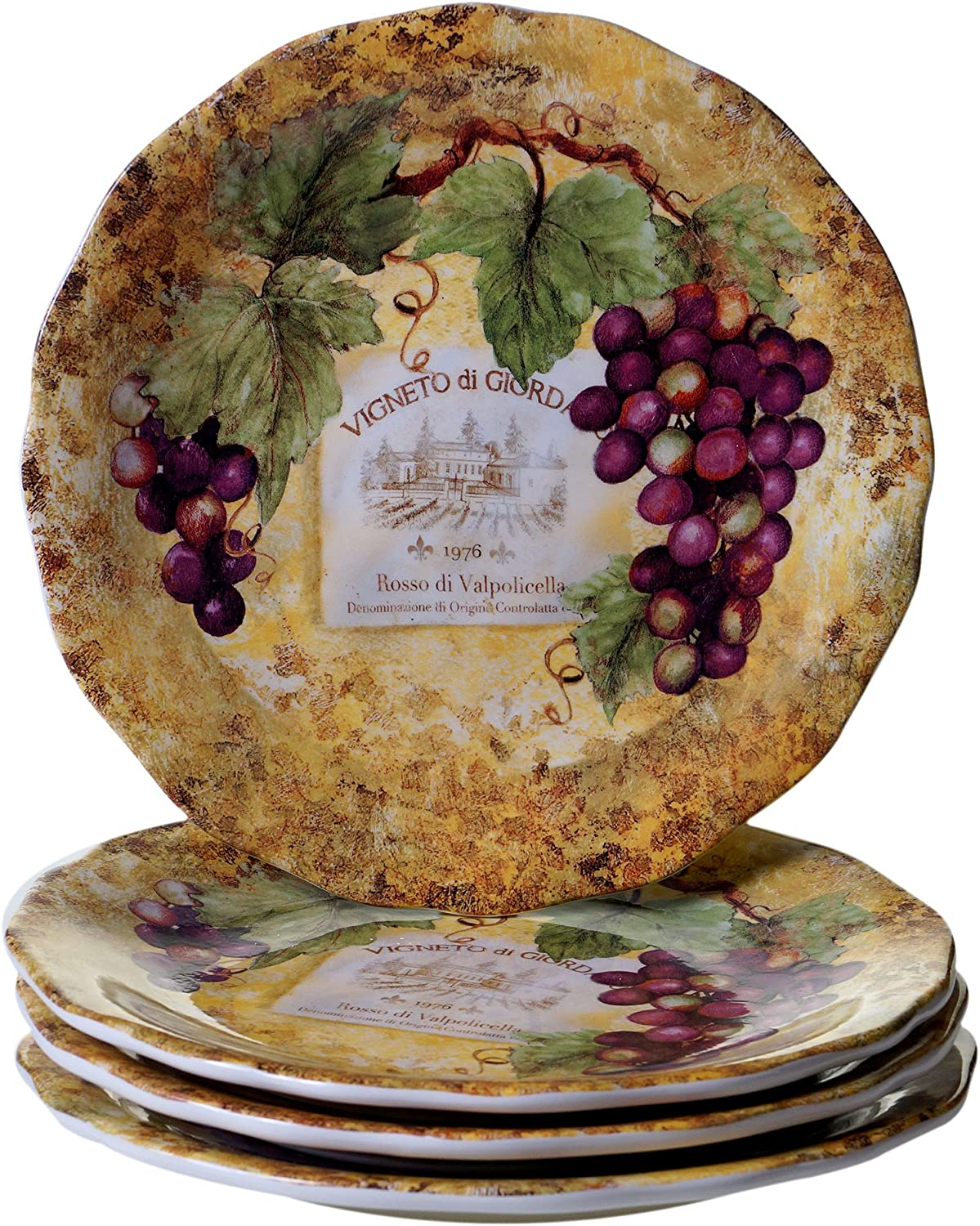 Certified International Gilded Wine Dinner Plates (Set of 4), 10.75 , Multicolor