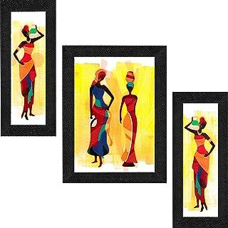 Saf Uv Textured Modern Art Print Framed Painting Set Of 3 For Home Decoration - Size 35 X 2 X 50 Cm SANFSA7703